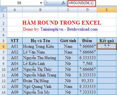 Ví dụ cụ thể hàm ROUND trong EXCEL