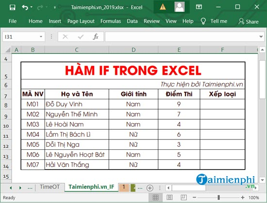Cách dùnghàm IF trong Excel