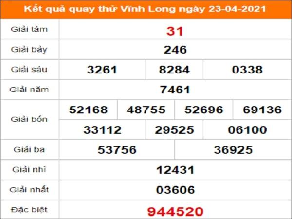 Quay thử kết quả xổ số tỉnh Vĩnh Long ngày 23/4/2021